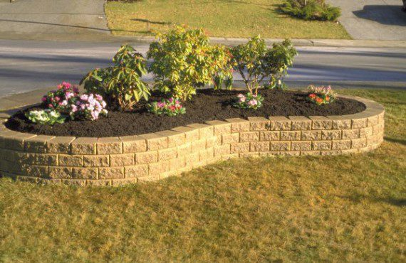 Unilock curved garden wall with Stack Stone