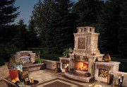 Outdoor living with fireplace and Umbriano paver Courtstone accent by Unilock